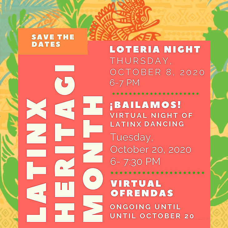 Bailamos1 Virtual Night of Latinx Dancing. Tuesday, October 20, 2020, 6-7:30 pm