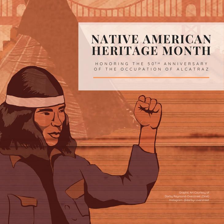 Illustration of Native Americans occupying Alcatraz.
